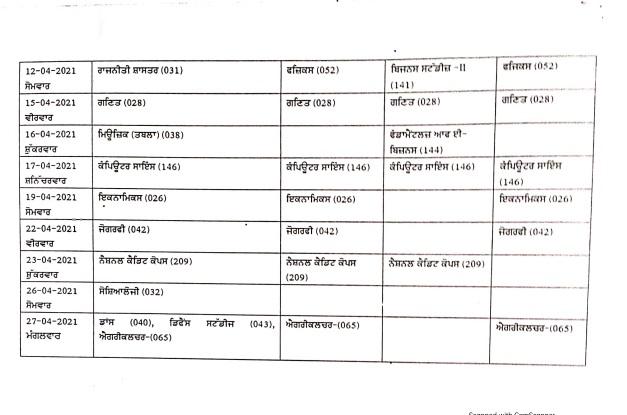 PSEB Class 12 Date Sheet 2021 Image Page 2