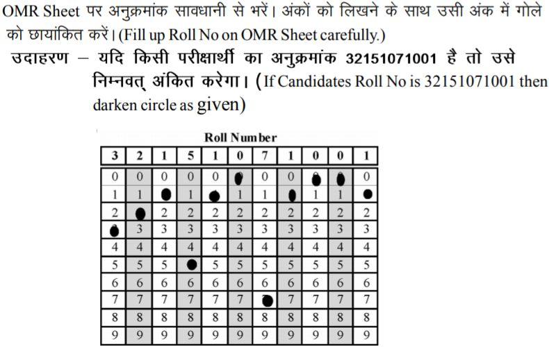 Filling Roll Number in NTSE OMR sheet
