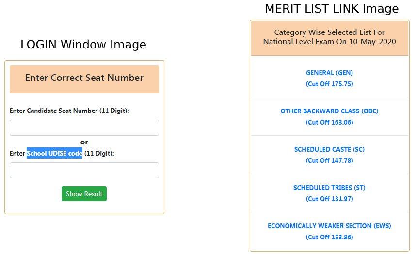 NTSE Maharashtra Result Login Window and merit list
