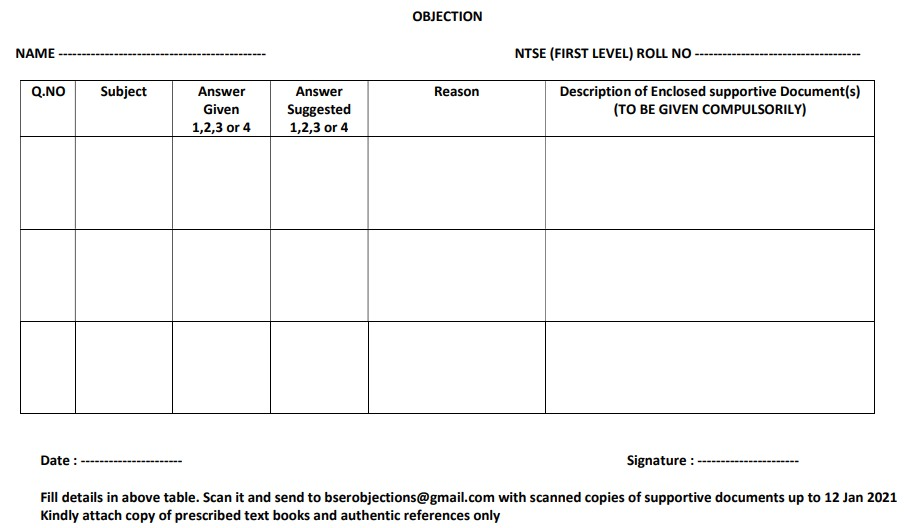NTSE Rajasthan answer key objection format