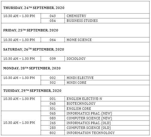 CBSE Class 12 Compartment exam date