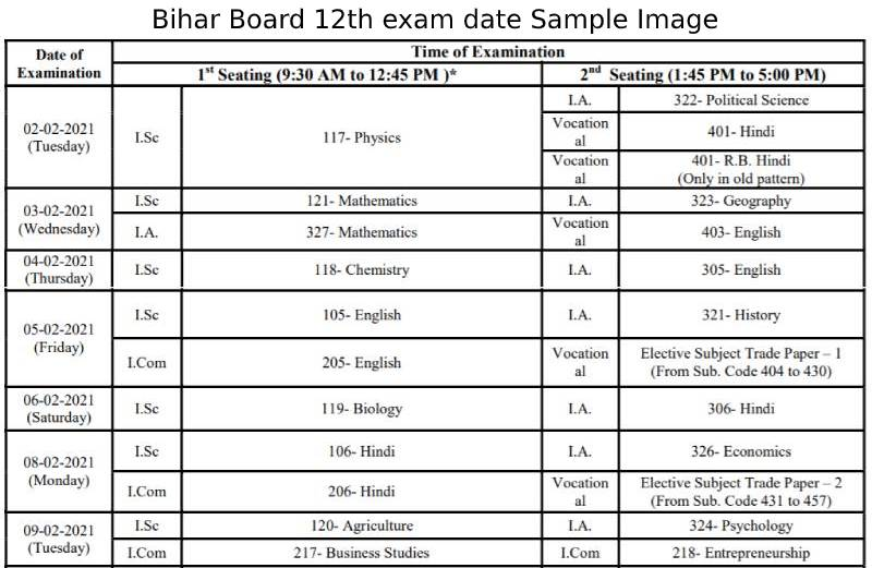 BSEB 12th exam date sample