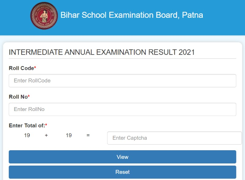 Online BSEB 12th result window