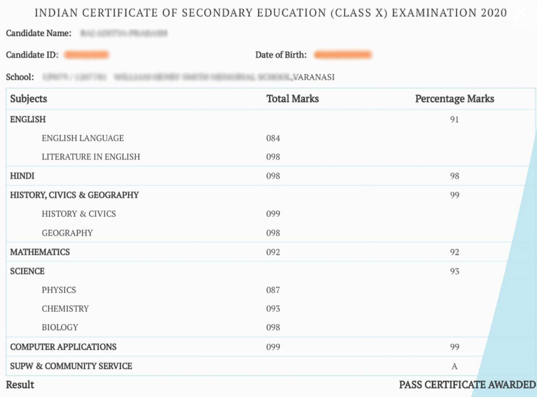 ICSE result mark sheet