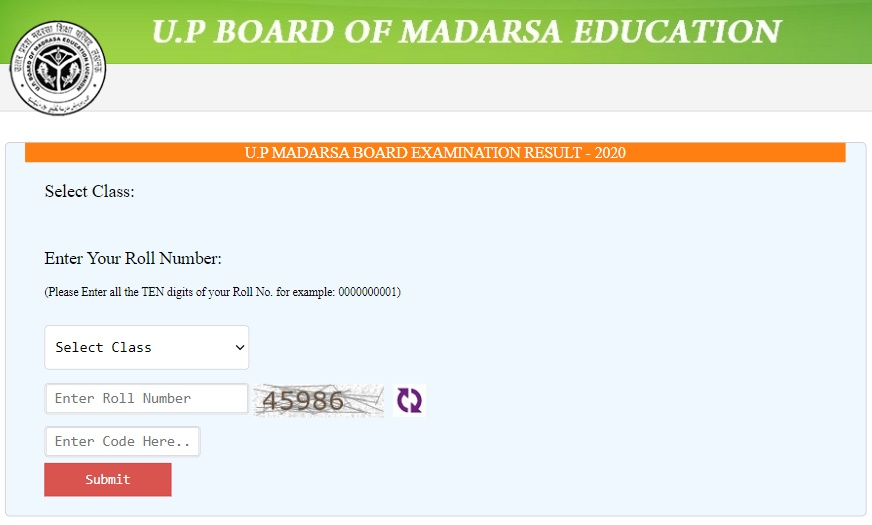 UP Madarsa Board result 2022 10th, 12th window