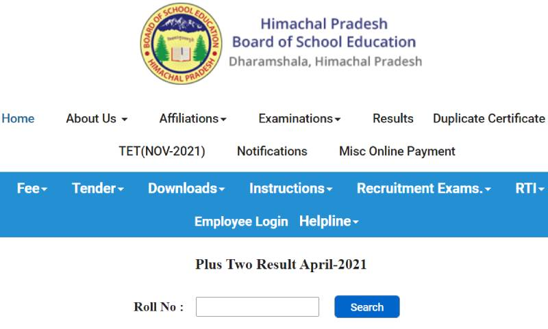 hpbose 12th result window